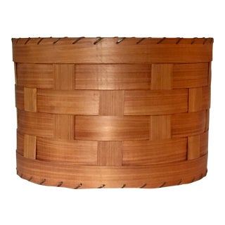 Mid-Century Woven Wood Slat Drum Lampshade