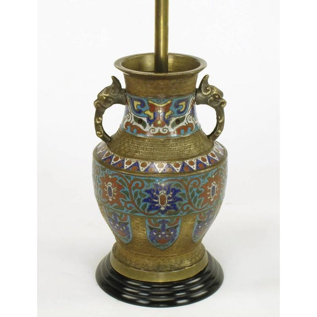 Pair of Japanese Brass Champlevé Cloisonné Urn-Form Table Lamps - Image 3 of 6