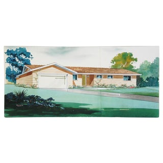 Mid-Century Architectural Watercolor, Bill Maurer