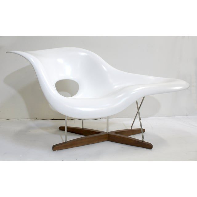 Eames vitra white la chaise chair chairish for Chaise eames rose pale