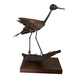 Metal Blue Heron Sculpture