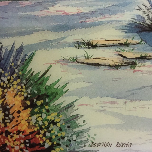 Doreman Burns Watercolor Hand Painted Tile - Image 9 of 9