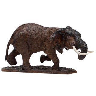 Vintage African Narra Wood & Ivory Elephant