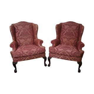 Quality Pair of Chippendale Style Ball & Claw Foot Mahogany Wing Chairs by Woodmark Originals