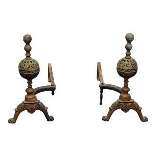 Cast Bronze Andirons - A Pair