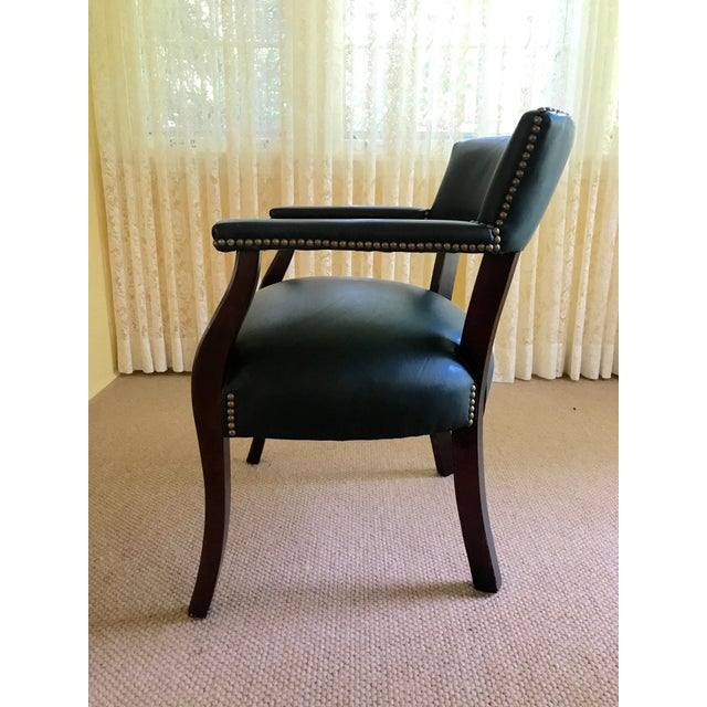 Mid Century Studded Green Leather Library Club Chair - Image 4 of 8