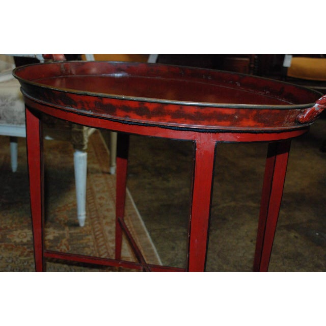 English Red Oval Table Tray - Image 7 of 8