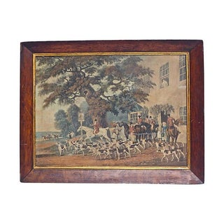 Antique English Hunt Scene Hand-Colored Engraving