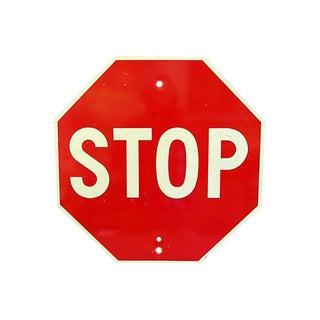 1970s Metal Stop Street Sign