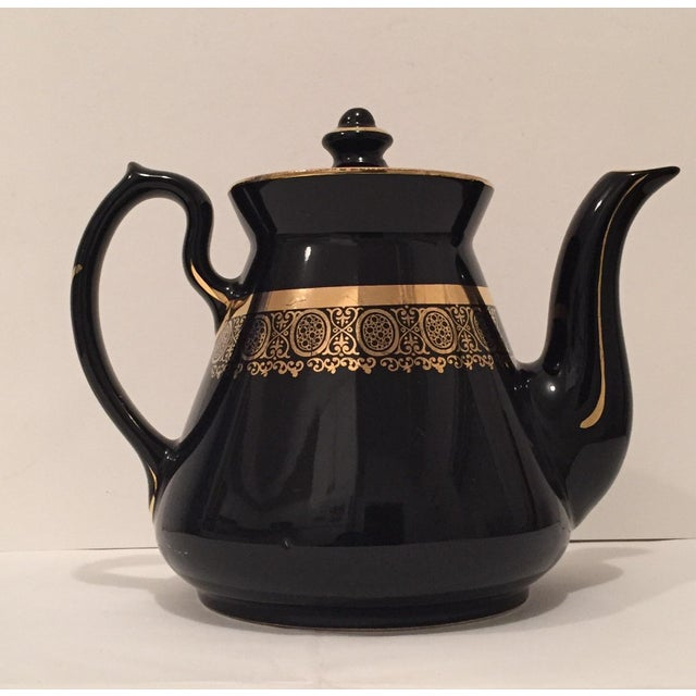 """Black and Gold Hollywood Regency """"Hall Usa"""" Teapot - Image 5 of 9"""