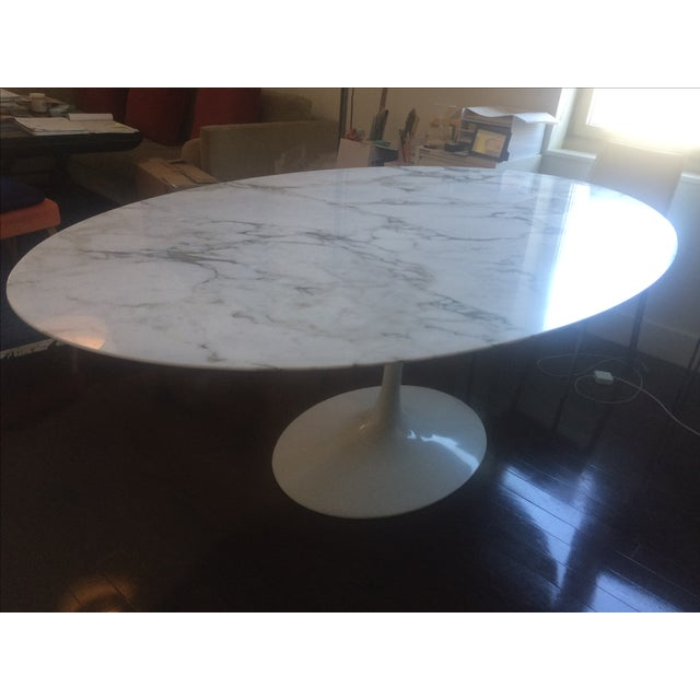 Knoll saarinen oval marble top dining table chairish - Saarinen oval dining table dimensions ...