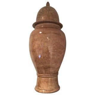 Beige Crackle Finish Lidded Urn