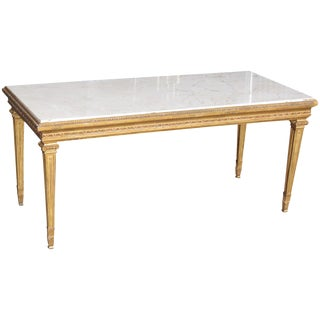 Marbletop & Gilt Carved Coffee Table