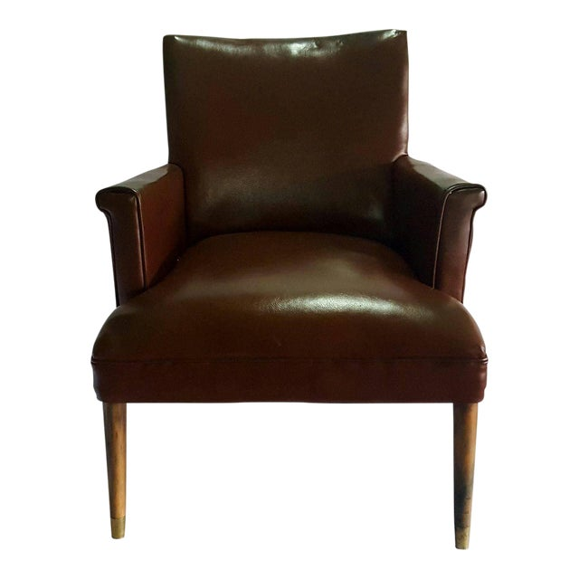Herman Chairs Inc. Mid-Century Brown Leather Chair - Image 1 of 4