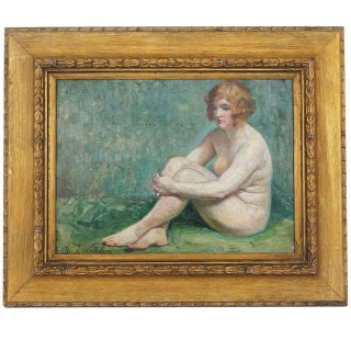 Maurice-Jean Lefebvre Art Deco Female Nude Painting