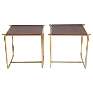 Modernist Brass & Leather Side Tables - a Pair