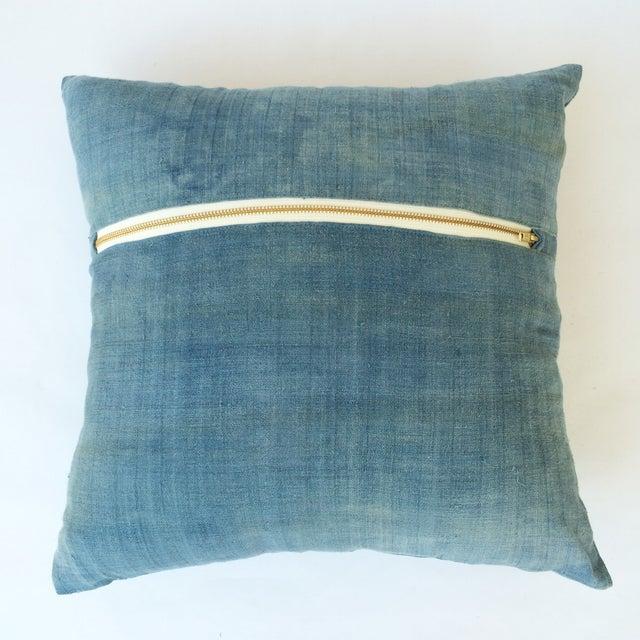 Hand Woven Light Blue-Indigo Hemp Pillow - Image 3 of 3