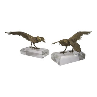 Gamecocks on Lucite Stands - A Pair
