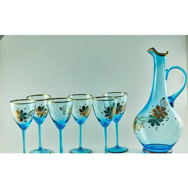 Sea Blue & Gold Leaf Decanter & Glassware Set - Image 3 of 10