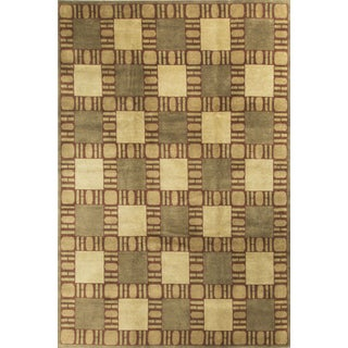 "Modern Contemporary Hand Knotted Wool Rug - 8'11"" x 11' 11"""