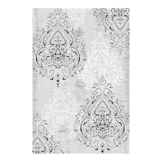 Damask Gray & White Rug - 5'3'' x 7'7''