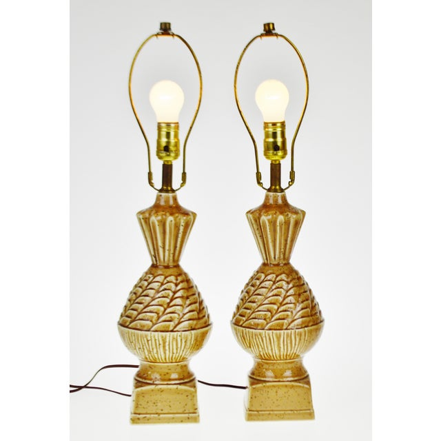 Vintage Ceramic Glazed Table Lamps - A Pair - Image 2 of 10