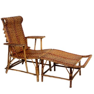 Vintage French Bamboo & Rattan Chaise Lounge