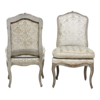 Pair of Period Louis XV Slipper Chairs in Cut-Velvet Damask Upholstery