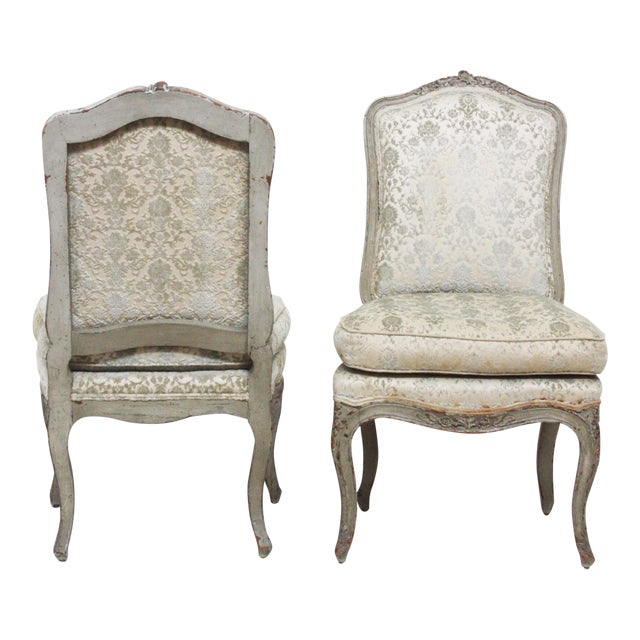 Pair of Period Louis XV Slipper Chairs in Cut-Velvet Damask Upholstery - Image 1 of 7