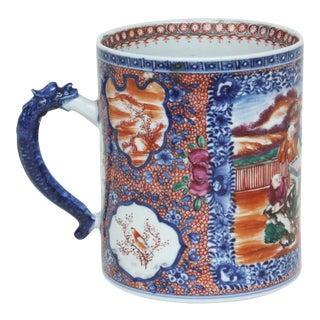 Large 18th Century Chinese Export Porcelain Mandarin Tankard