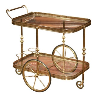 Early 20th Century French Two-Tier Brass Cart Table with Glass Tops