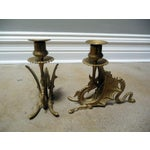 Image of Antique Victorian Dragon Candlesticks - A Pair