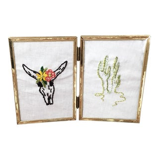 Boho Framed Steer & Cacti Double Embroidery