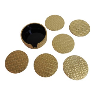 Gold Vintage Lacquerware Coasters - Set of 6