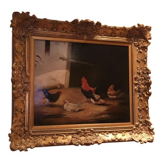 """Contemporary Rustic """"Chickens"""" Oil Painting"""