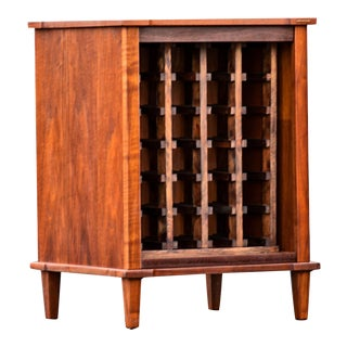 Mid-Century Modern Walnut Wine Rack