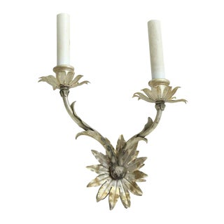 French Nickel Floral Two Arm Sconces - Set of Four