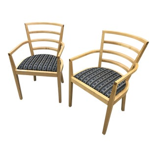 1991 Raul De Armas For Knoll Arm Chairs - A Pair