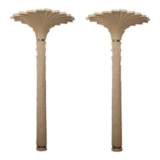 Merle Edelman Roche Style Palm Tree Floor/Wall Lamps - A Pair