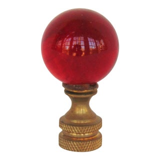Red Glass Ball Lamp Finial