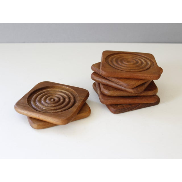 Image of Danish Modern Dolphin Teak Coasters With Caddy- Set of 8