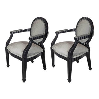 Pair of Mid-Century Modernist Chairs by Donghia in Ebonized Walnut