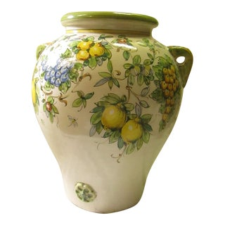 Large Italian Hand Painted Ceramic Handled Urn