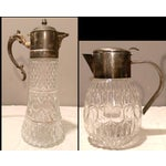 Image of Cut Glass And Pewter Beverage Serving Collection