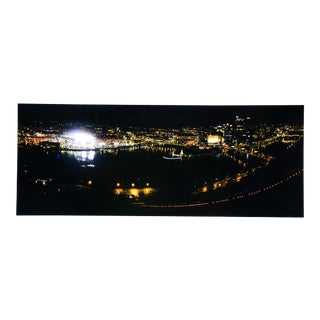 """""""Night Time View of the Pittsburgh Skyline"""" Mounted Photo"""