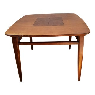 Mid-Century Modern Wood Inlay Large Side Accent Table