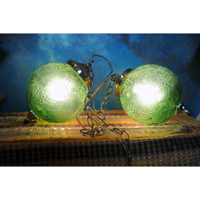 Vintage Green Glass Globe Pendants - Image 2 of 3