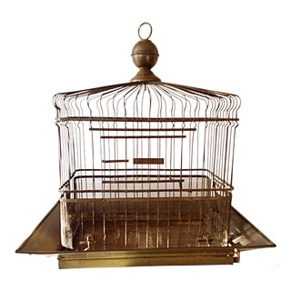 Vintage French Brass Birdcage