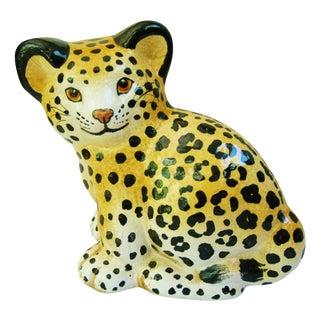 Charming Boho Chic Mid-Century Italian Cheetah Cub Figure
