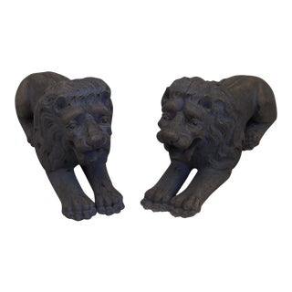 Pair of Carved Lions Couchant (#12-54)